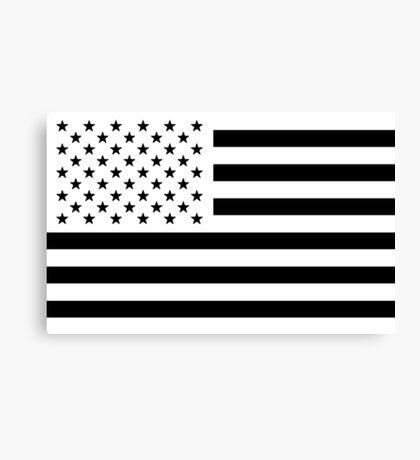 Black and White USA Flag Canvas Print