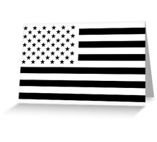Black and White USA Flag Greeting Card