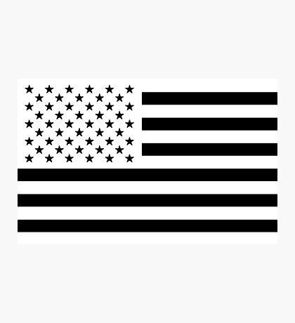 Black and White USA Flag Photographic Print