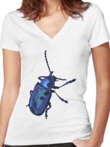 Water Beetle Women's Fitted V-Neck T-Shirt