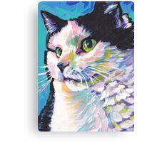 Tuxedo Cat Bright colorful pop kitty art Canvas Print