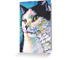 Tuxedo Cat Bright colorful pop kitty art Greeting Card