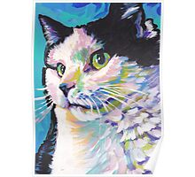 Tuxedo Cat Bright colorful pop kitty art Poster