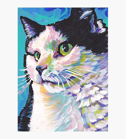 Tuxedo Cat Bright colorful pop kitty art Photographic Print