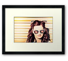 Face of a retro beauty model in cool accessories Framed Print