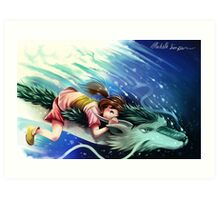 Spirited Away, Haku and Chihiro Art Print