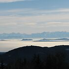Swiss Alps over Misty German Valleys by grubb1980
