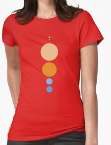 Planets To Scale (vertical) Womens Fitted T-Shirt