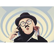 Vintage futurist using phone on time warp backdrop Photographic Print