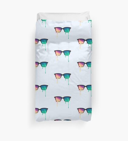 Psychedelic Nerd Glasses with Melting LSD/Trippy Color Triangles Duvet Cover