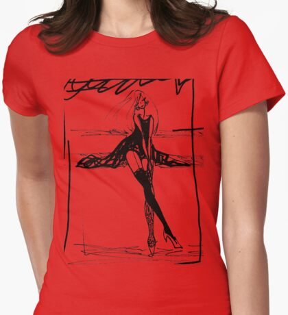 leaning lady Womens Fitted T-Shirt