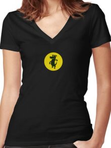 Dancing With The Black Dog Women's Fitted V-Neck T-Shirt