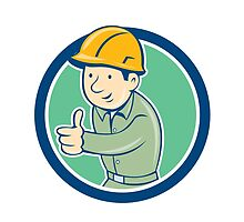 Builder Construction Worker Thumbs Up Circle Cartoon by patrimonio