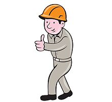 Builder Construction Worker Thumbs Up Cartoon by patrimonio