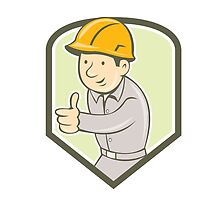 Builder Construction Worker Thumbs Up Shield Cartoon by patrimonio