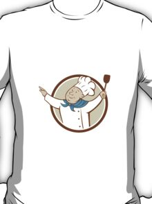 Chef Cook Arms Out Spatula Circle Cartoon T-Shirt