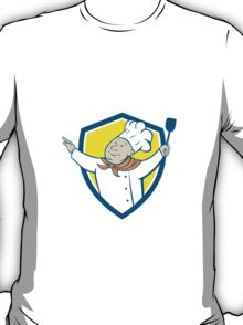 Chef Cook Arm Out Spatula Shield Cartoon T-Shirt