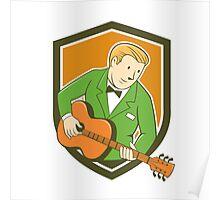 Musician Guitarist Playing Guitar Shield Cartoon Poster