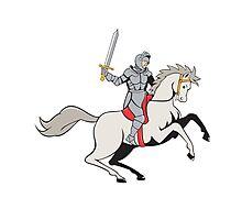 Knight Riding Horse Sword Cartoon Photographic Print