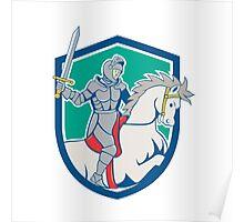 Knight Riding Horse Sword Cartoon Poster