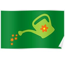 Watering Can Watering Flowers (Light Green) Poster