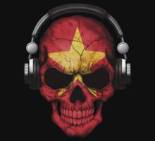 Dj Skull with Vietnamese Flag One Piece - Long Sleeve