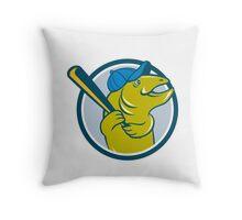 Trout Fish Baseball Batting Circle Cartoon Throw Pillow