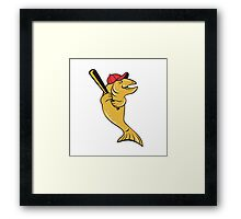 Trout Fish Baseball Player Batting Cartoon Framed Print