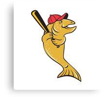 Trout Fish Baseball Player Batting Cartoon Canvas Print