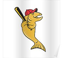 Trout Fish Baseball Player Batting Cartoon Poster