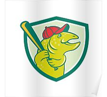 Trout Fish Baseball Batting Shield Cartoon Poster