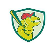 Trout Fish Baseball Batting Shield Cartoon Photographic Print