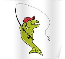 Trout Fly Fishing Rod Hook Cartoon Poster