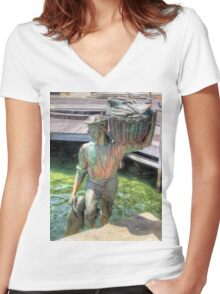 Fishing Harbour Fremantle WA 2 - HDR Women's Fitted V-Neck T-Shirt