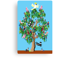 3 magpies, 2 crimson rosellas, and a cockatoo up a gum tree Canvas Print