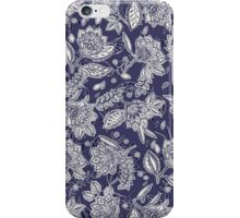 Decorative Floral Doodle Pattern in Navy iPhone Case/Skin