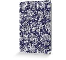 Decorative Floral Doodle Pattern in Navy Greeting Card