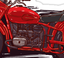 red vintage motorcycle Sticker