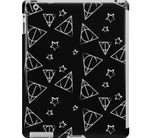 White on Black Deathly Hallows and Stars Pattern iPad Case/Skin