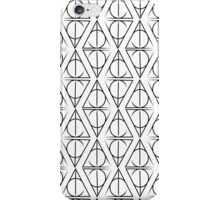 Black on White Deathly Hallows Pattern iPhone Case/Skin