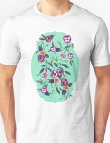 Pansy and Vines in Purple on Mint T-Shirt