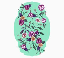 Pansy and Vines in Purple on Mint Unisex T-Shirt