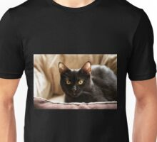 Black cat cosy in bed Unisex T-Shirt