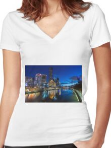 Melbourne Southgate at night Women's Fitted V-Neck T-Shirt