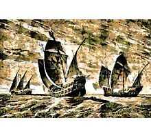 Columbus' ships - The Santa Maria, Nina and Pinta  Photographic Print