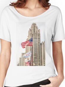 American and Chicago Flags Women's Relaxed Fit T-Shirt