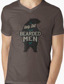 HOLY SHIT I LOVE BEARDED MEN Mens V-Neck T-Shirt
