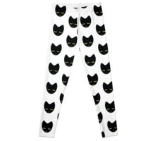 Unimpressed cat! angry black cat cross Leggings