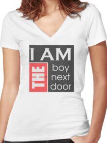 I am the boy next door  Women's Fitted V-Neck T-Shirt
