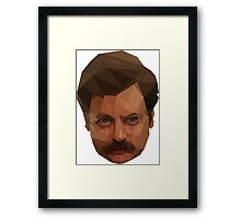 Ron Swanson Low Poly Framed Print